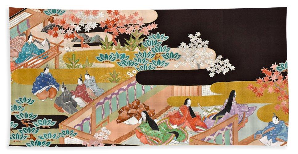 Bath Towel featuring the digital art Spirit of Japan T18 by Miho Kanamori