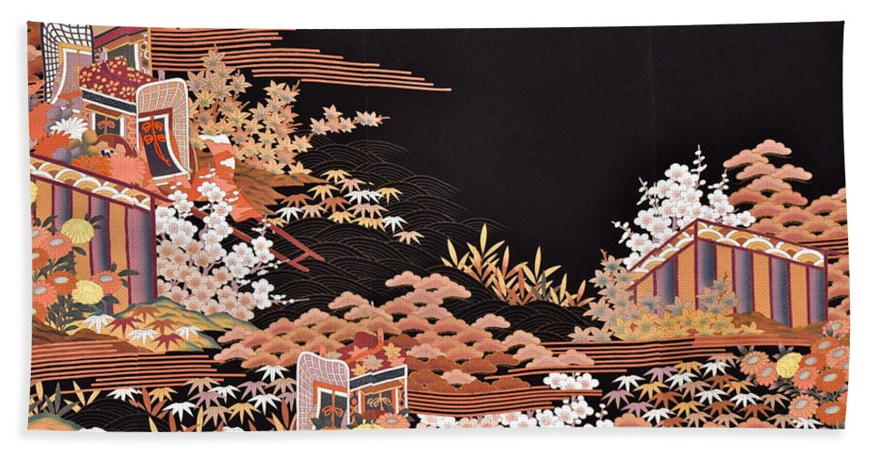 Bath Towel featuring the digital art Spirit of Japan T45 by Miho Kanamori