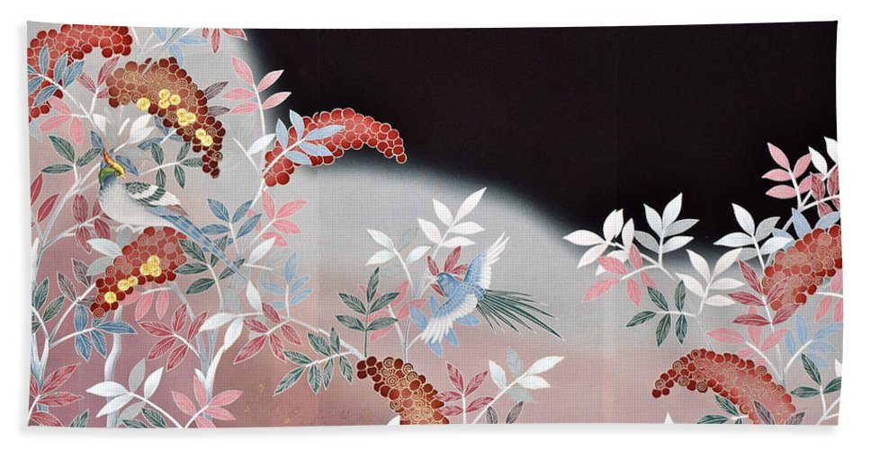 Bath Towel featuring the digital art Spirit of Japan T47 by Miho Kanamori