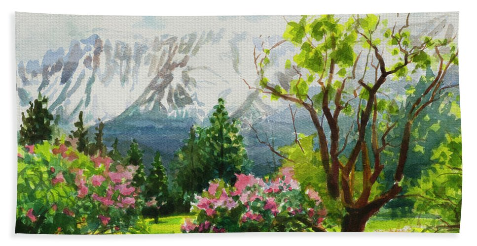 Landscape Bath Towel featuring the painting Spring In The Wallowas by Steve Henderson