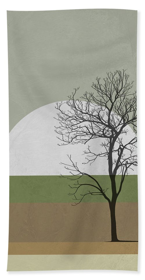 Tree Bath Towel featuring the mixed media Spring Sunset Tree by Naxart Studio