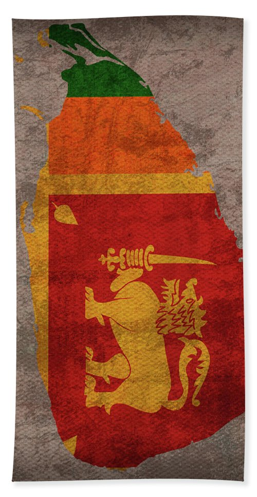Sri Lanka Bath Towel featuring the mixed media Sri Lanka Country Flag Map by Design Turnpike