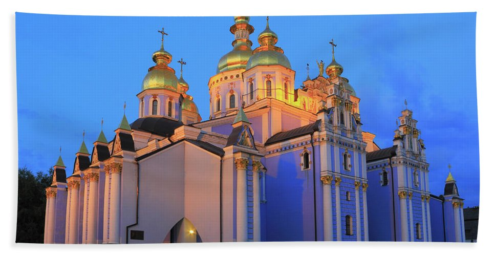 Architecture Bath Sheet featuring the photograph St Michael's Golden-domed Monastery At Dusk Kiev Ukraine by Ivan Pendjakov