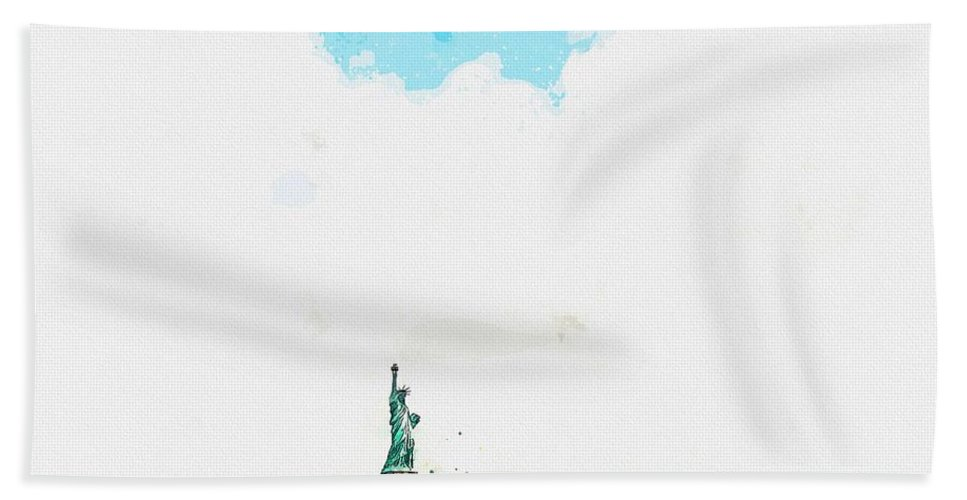 Nature Bath Towel featuring the painting Statue Of Liberty National Monument, New York, United States Watercolor By Ahmet Asar by Ahmet Asar