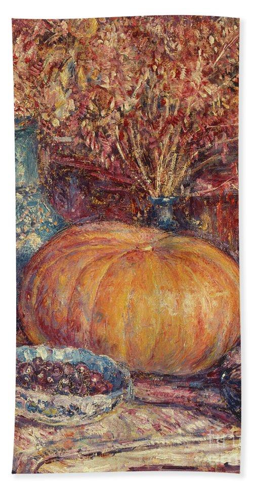Still Life With Pumpkin Bath Towel featuring the painting Still Life With Pumpkin by George Morren
