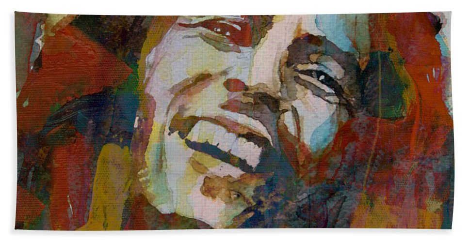 Bob Marley Hand Towel featuring the painting Stir It Up - Retro - Bob Marley by Paul Lovering