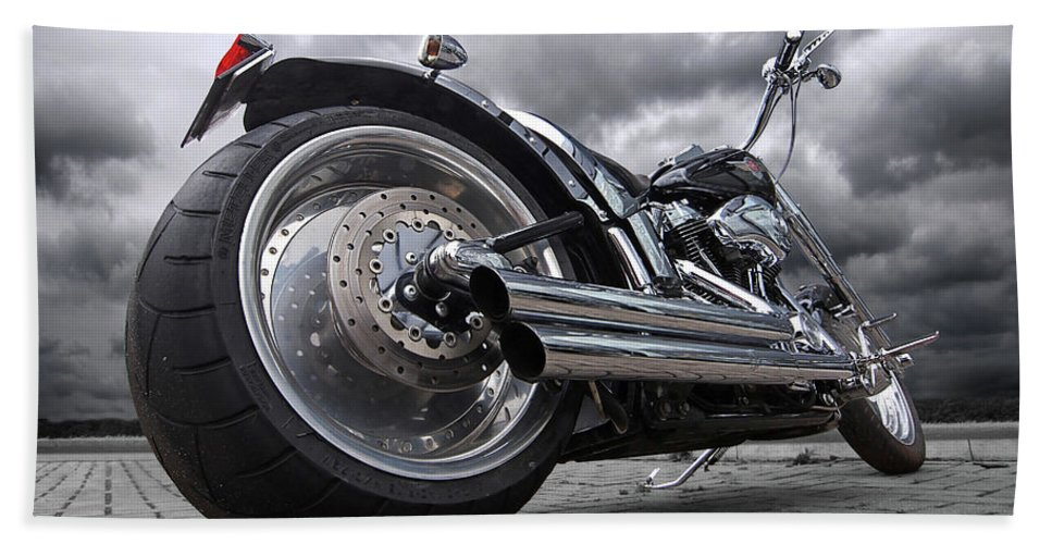 Harley Davidson Motorcycle Bath Towel featuring the photograph Storming Harley by Gill Billington