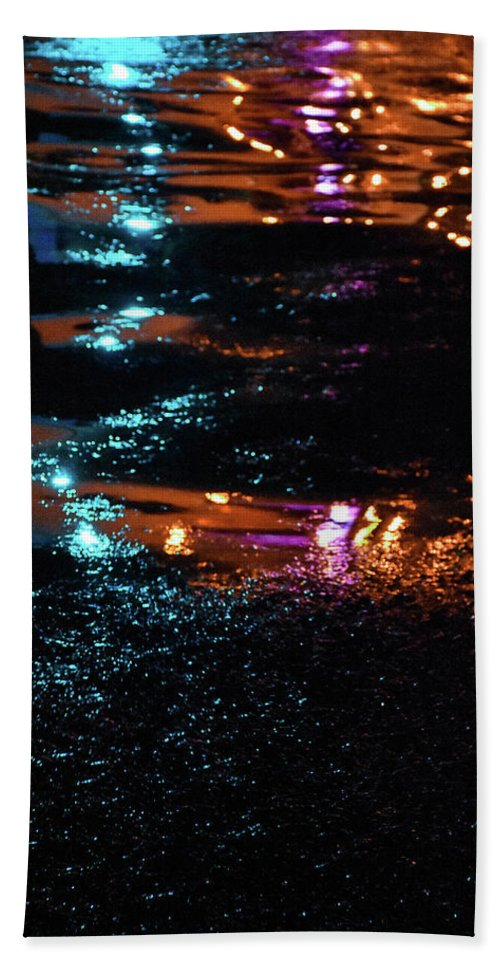 Lights Bath Towel featuring the photograph Street Magic by Ashleena Valene Taylor