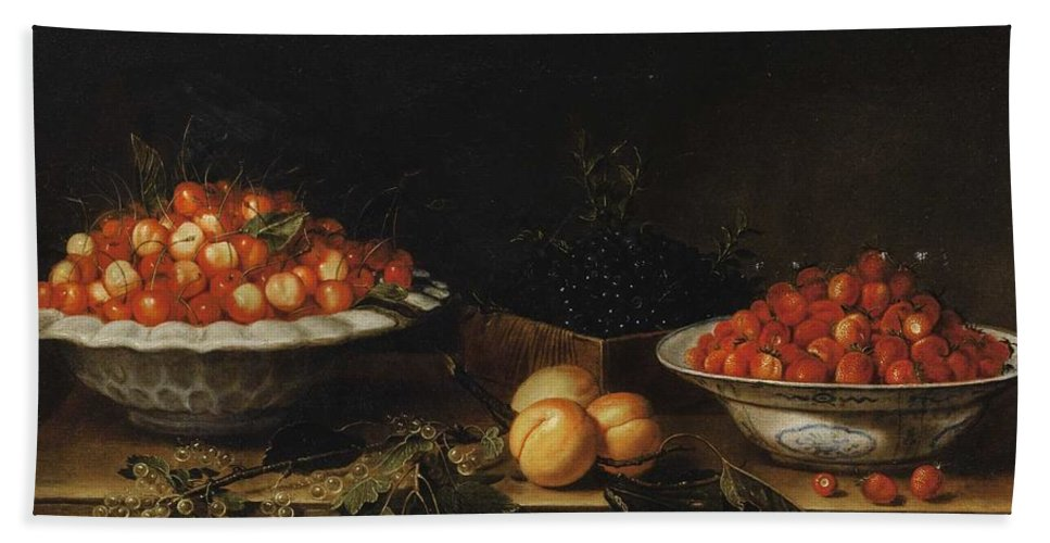Flower Bath Sheet featuring the painting Studio Of Francois Garnier Paris 1600 - 1672 Still Life With A Bowl Of Cherries by MotionAge Designs