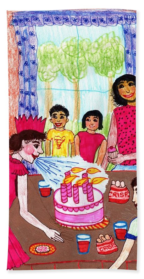 Nursery Rhyme Hand Towel featuring the drawing Sukey Blow The Candles Out by Sushila Burgess