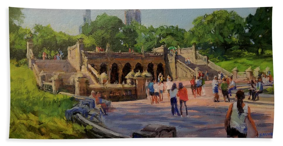 Central Park Hand Towel featuring the painting Summer Morning On Bethesda Terrace by Peter Salwen