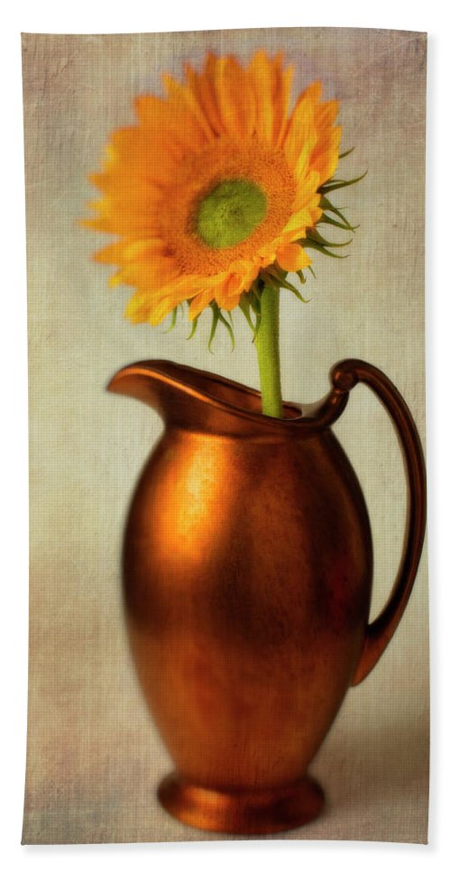 Bronze Pitcher Hand Towel featuring the photograph Sunflower In Bronze Pitcher by Garry Gay