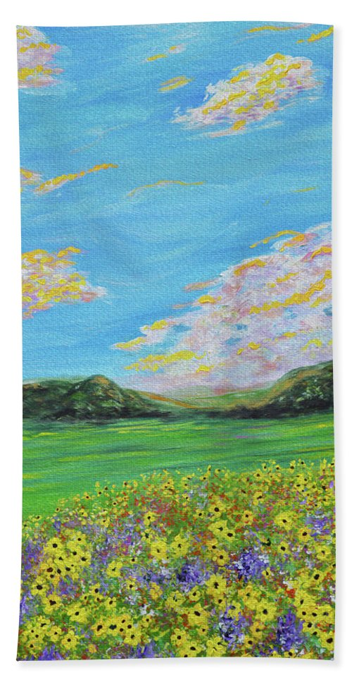 Sunflowers   Sunflower Painting   Sunflower Landscape   Impressionism   Abstract Art   Oil Painting   Flowers   Yellow Flowers   Cloud Painting   Clouds   Rolling Hills   Kathy Symonds   Artbykatsy   Abstract Flowers   Impressionism Sunflowers   Sunflower Valley   Valley Of Sunflowers Bath Sheet featuring the painting sunflower valley- Sunflower Art-Impressionism painting by Kathy Symonds