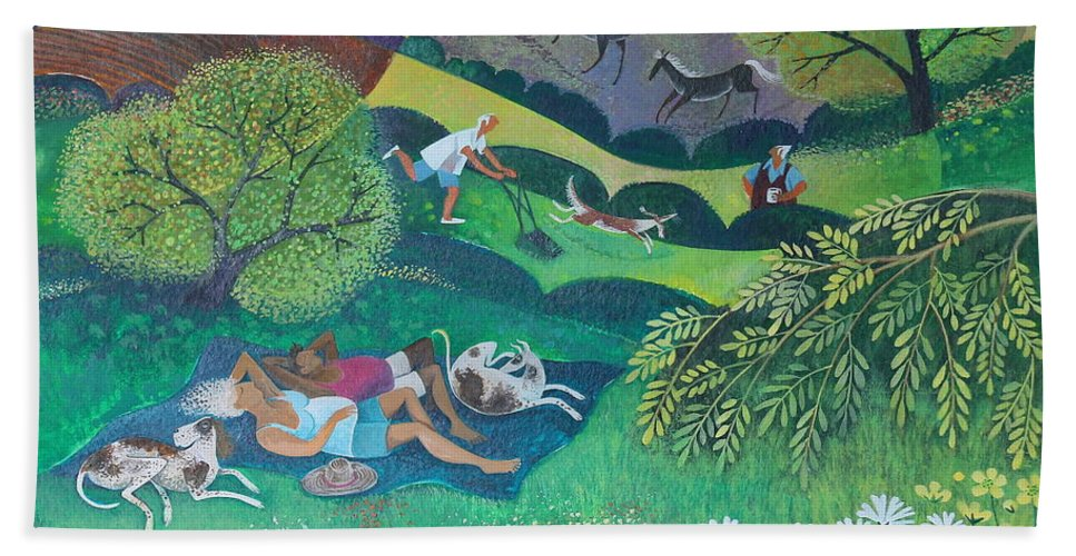 Sunny Bath Towel featuring the painting Sunny Suburban Sunday by Lisa Graa Jensen