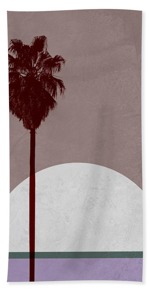 Palm Tree Hand Towel featuring the mixed media Sunset And Beach Palm Tree by Naxart Studio