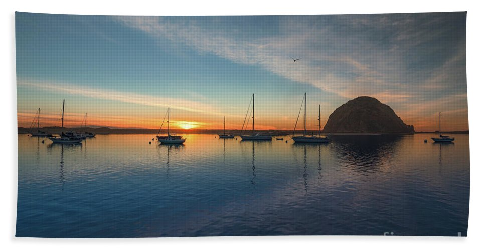 California Bath Sheet featuring the photograph Sunset At Morro Bay by Hanna Tor