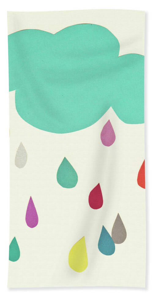 Clouds Bath Towel featuring the mixed media Sunshine and Showers by Cassia Beck