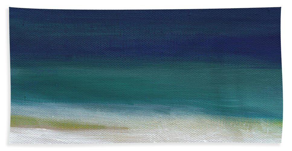 Abstract Bath Towel featuring the painting Surf and Sky- abstract beach painting by Linda Woods