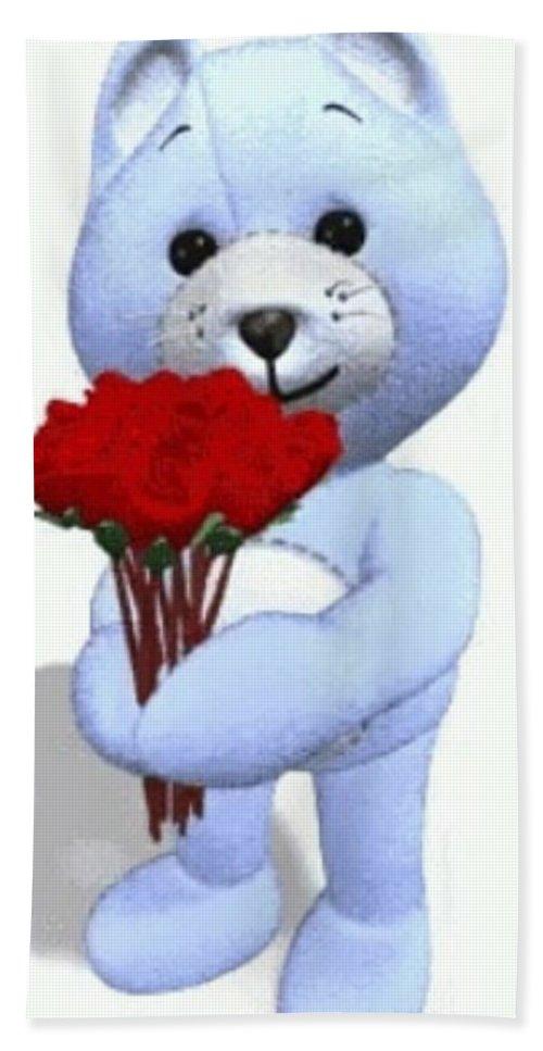 #sweetbear #teddybear #flowers #roses #romantic #romance #neworleansartist #jmstudioartgallery504 #jminternationalincartgallery #valentine #someonespecial #special #love #caring #compassion #sweety #lovable #lover Bath Sheet featuring the digital art Sweet Bear by James Maloney