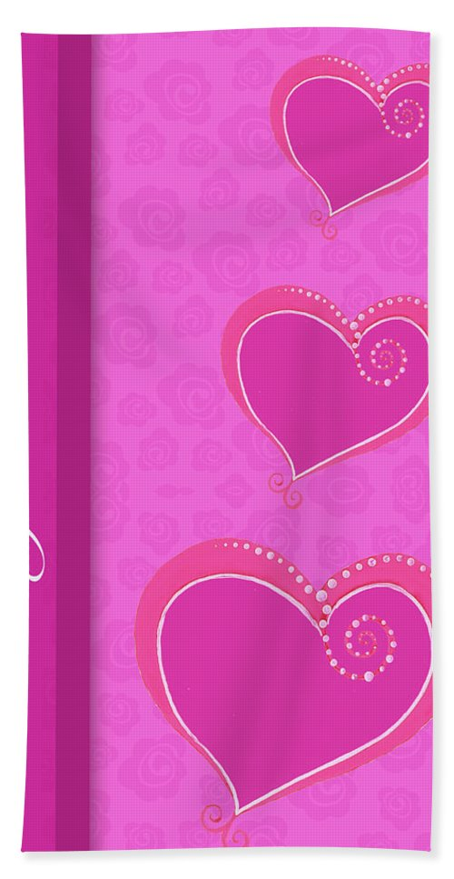 Sweet Bath Towel featuring the mixed media Sweet Pink Valentines IIi by Andi Metz