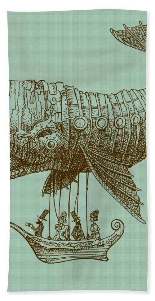 Whale Bath Towel featuring the drawing Tea at Two Thousand Feet by Eric Fan