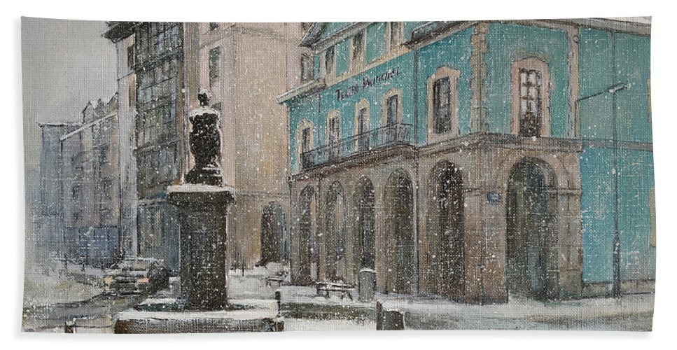 Teatro Bath Sheet featuring the painting Teatro Principal.Reinosa by Tomas Castano