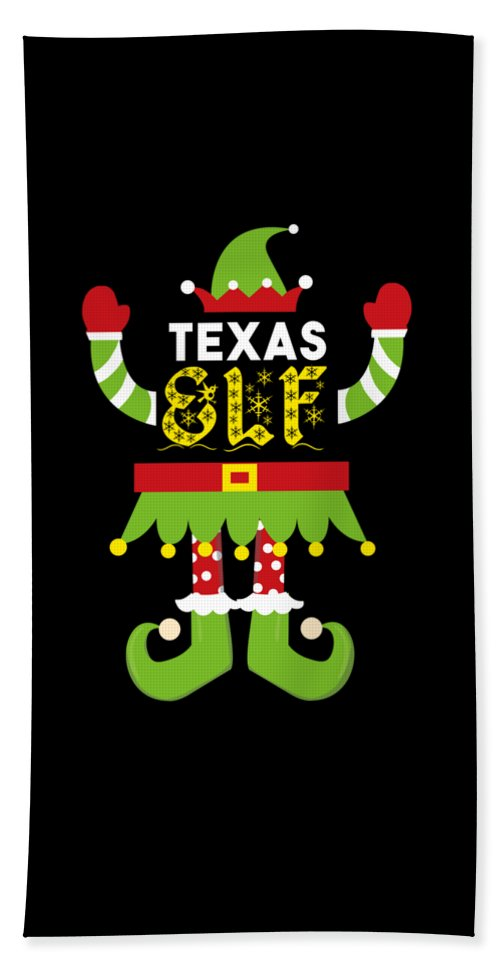 Christmas Bath Towel featuring the digital art Texas Elf Xmas Elf Santa Helper Christmas by TeeQueen2603
