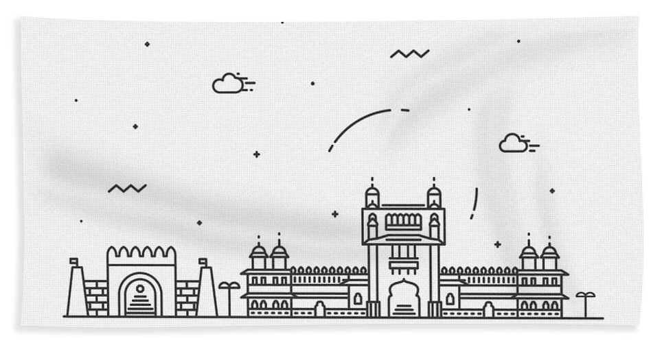Thane Bath Towel featuring the drawing Thane Cityscape Travel Poster by Inspirowl Design