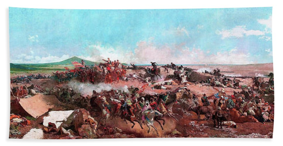 The Battle Of Tetouan Bath Towel featuring the painting The Battle Of Tetouan - Digital Remastered Edition by Mariano Fortuny