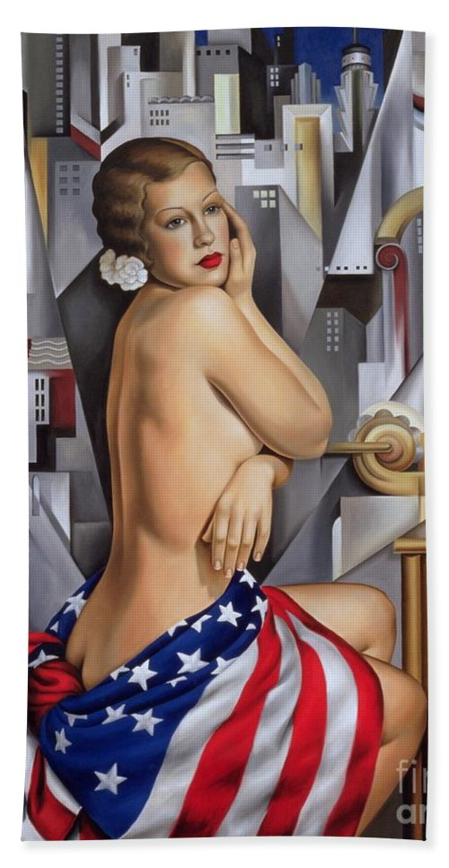 Flag Hand Towel featuring the painting The Beauty Of Her by Catherine Abel