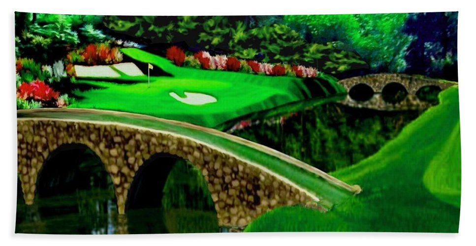 Beauty Masters National Golf Club Tournament Augusta Forest 12th Hole Golf Course Rkc Ron Ronald K Chambers Spieth Watson Mickelson Woods Singh Faldo Crenshaw Langer Couples Nicklaus Watson Player Palmer Of Open Pga Championship British Famous Course Pebble Beach Pinehurst Staint Andrews Muirfield Village Tours Mcilroy Fowler Rose Thomas Furyk Tiger Landscapes Country Western Bridges Forest Rivers Lakes Ponds Sunset Twilight Hand Towel featuring the painting The Beauty Of The Masters Cropped Version by Ron Chambers