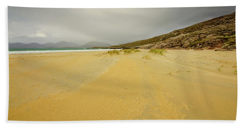 Luskentyre Beach Hand Towel featuring the mixed media The Calm Before The Storm by Smart Aviation
