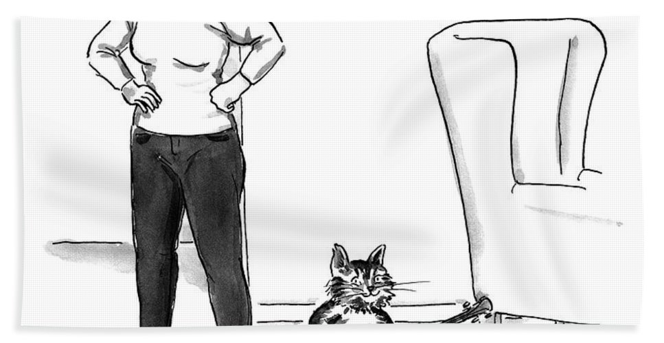 """""""that's It. The Cat Has To Go."""" Cat Bath Sheet featuring the drawing The Cat Has To Go by Carolita Johnson"""