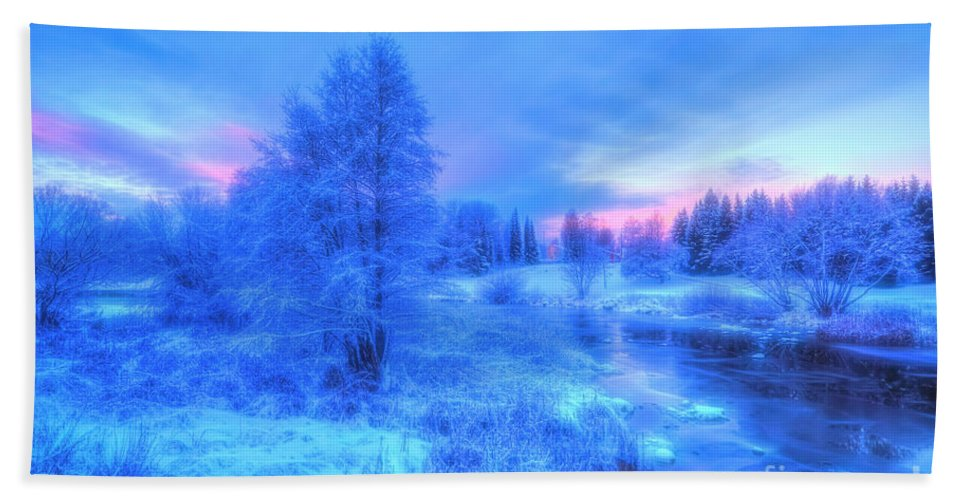 Atmosphere Bath Towel featuring the photograph The First Snow 2 by Veikko Suikkanen
