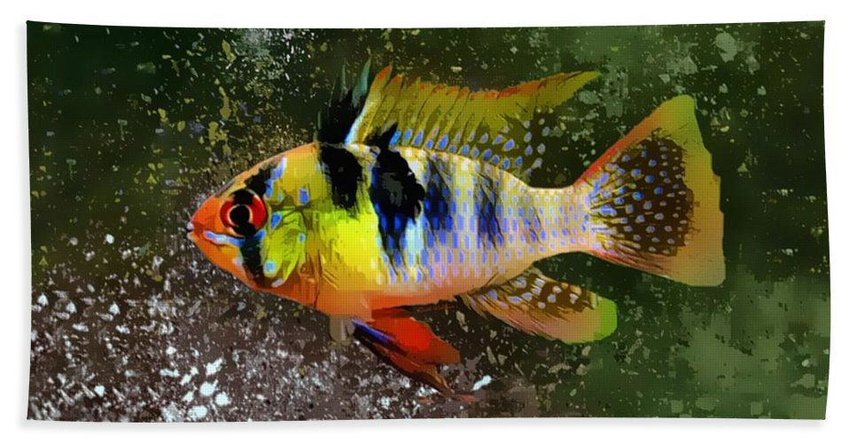 Ram Cichlid Bath Towel featuring the digital art The German Blue Ram Portrait by Scott Wallace Digital Designs
