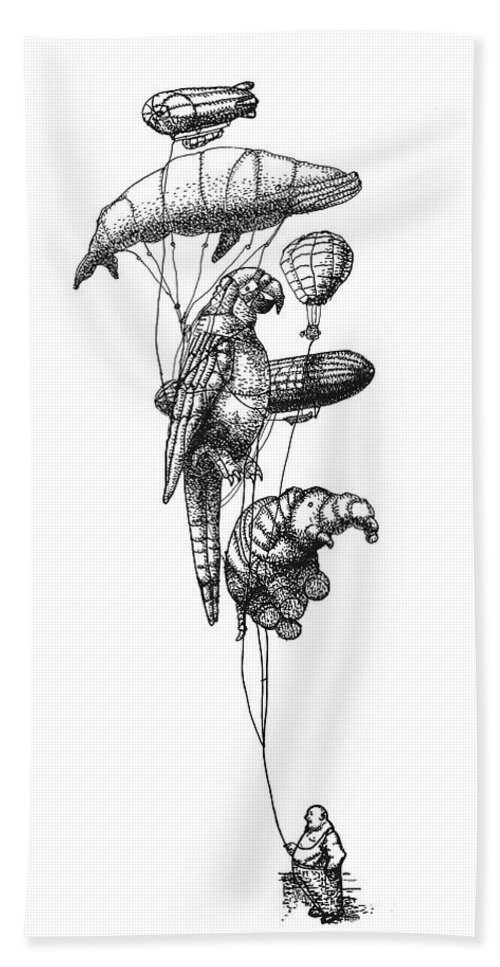 Balloons Bath Towel featuring the photograph The Helium Menagerie by Eric Fan