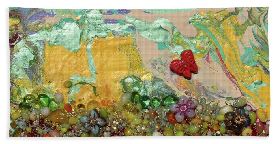 Landscape Bath Towel featuring the mixed media The Hills Sing by Donna Blackhall