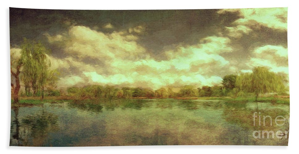 Scenic Bath Towel featuring the photograph The Lake - Panorama by Leigh Kemp