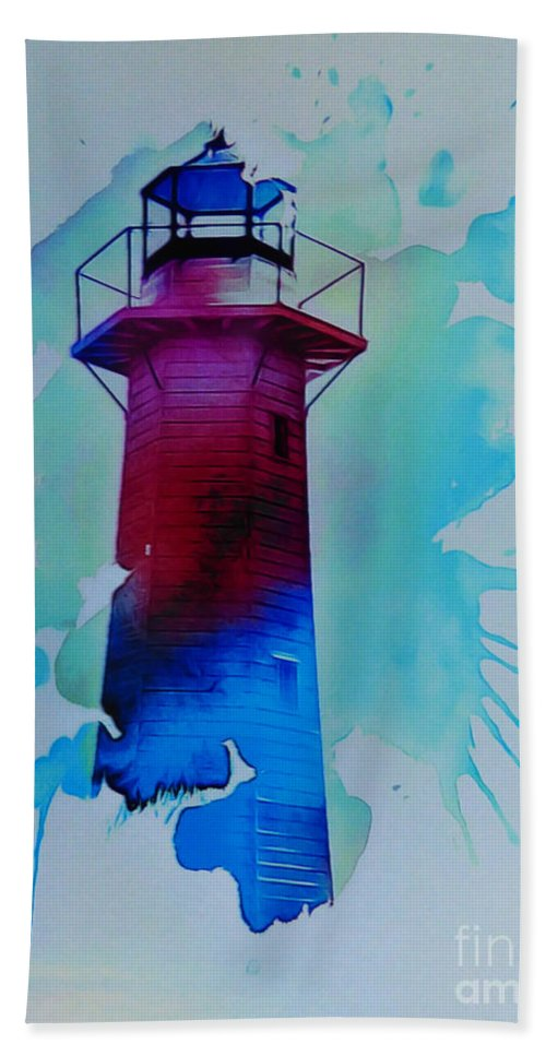 The Lighthouse. This Image Was Created By Adding A Digital Application To My Original Photo Resulting In A Contemporary Semi-abstract Finish. Bath Towel featuring the digital art The Lighthouse by Trudee Hunter