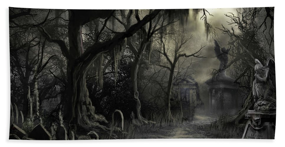 Cemetery Bath Towel featuring the painting The Lost Cemetery by James Christopher Hill