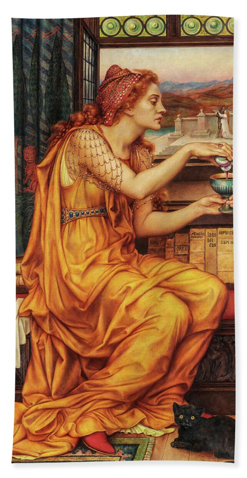 Evelyn De Morgan Bath Towel featuring the painting The Love Potion, 1903 by Evelyn De Morgan