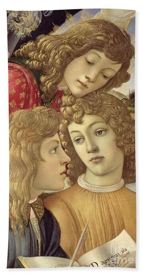 Sandro Botticelli Bath Towel featuring the painting The Madonna Of The Magnificat, Detail Of Three Boys, 1482 by Sandro Botticelli