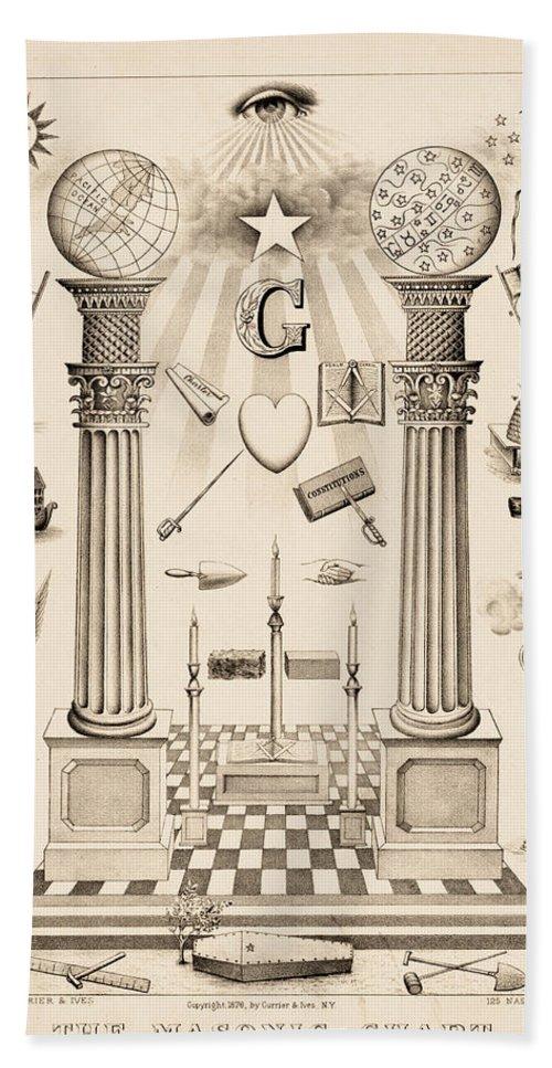 Masonic Chart Bath Towel featuring the painting The Masonic Chart, 1876 by American School