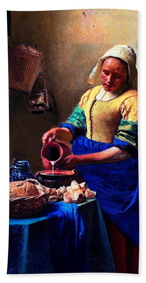 Milk Maid Hand Towel featuring the digital art The Milk Maid by Thomas Toomey