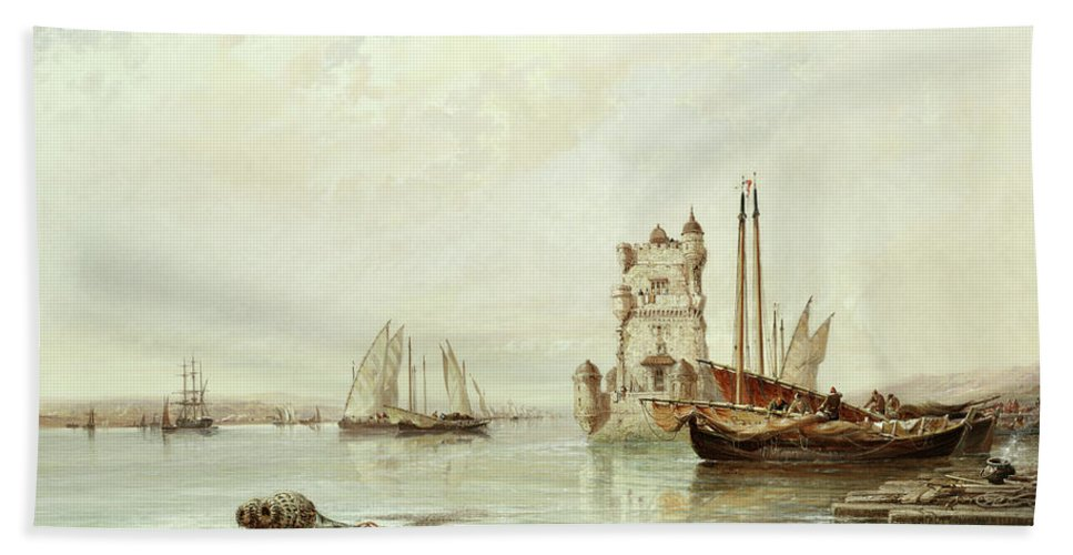 The Mouth Of The Tagus Bath Towel featuring the painting The Mouth Of The Tagus, Lisbon by Arthur Joseph Meadows