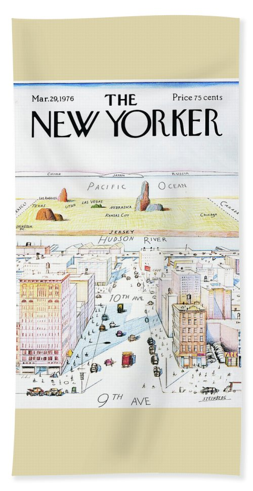 The New Yorker Bath Towel featuring the painting The New Yorker - March 29, 1976 by Saul Steinberg