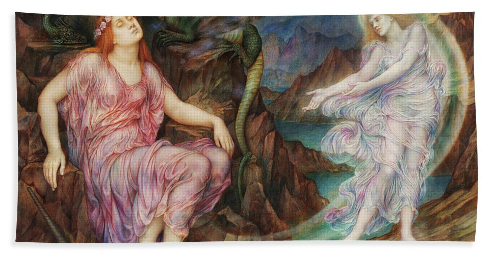 Evelyn De Morgan Bath Towel featuring the painting The Passing Of The Soul At Death, 1919 by Evelyn De Morgan