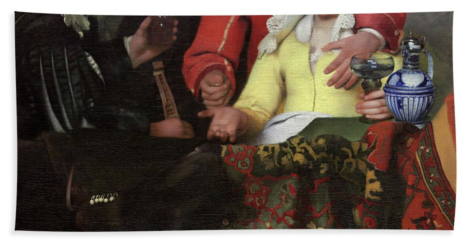 Jan Vermeer Hand Towel featuring the painting The Procuress, 1656 by Jan Vermeer
