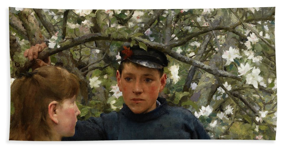 The Promise Hand Towel featuring the painting The Promise, 1888 by Henry Scott Tuke