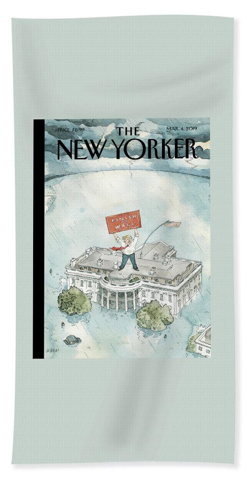 The Real Emergency Bath Sheet featuring the painting The Real Emergency by Barry Blitt